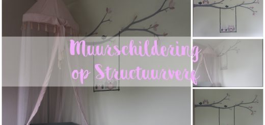 muurschildering uiltjes babykamer structuurverf meisje